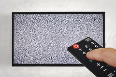 Television and remote Stock Photo