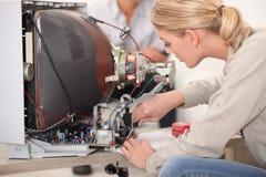 Television repairs Stock Photo