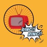 Television ring rign vintage pop art design Royalty Free Stock Image