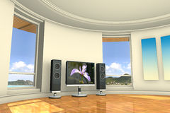 Television Room. 3D illustration of a television room with a view. The background image and the flower image were taken by me Stock Photo