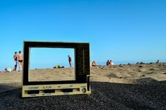 Television on the Sand Beach. Photo Picture of a Television on the Sand Beach royalty free stock photos