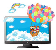 Television screen with children riding in balloon Stock Photography