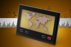 Television screen with map Stock Photography