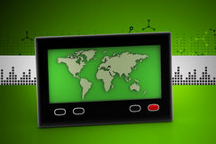 Television screen with map Royalty Free Stock Photography