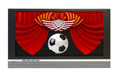 Television screen with a soccer ball Stock Photography