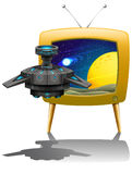 Television screen with spaceship flying Stock Images