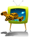 Television screen with spaceship flying in the space Stock Photo