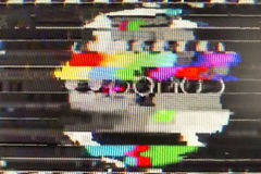 Television screen with static noise caused by bad signal reception.  royalty free stock images