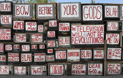 Television screens. Stack of televisions in the artist community of East Jesus outside of Slab City near Niland, California Stock Photos