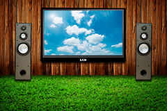 Television Set And Two Speakers Stock Photography