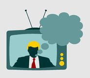 Television set broadcasting the news with an reporter Royalty Free Stock Photo