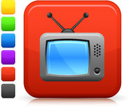 Television set icon on square internet button Stock Photography