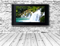 Television set on an old wall Royalty Free Stock Images