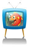 A television show with a big orange piranha Royalty Free Stock Photos