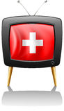 A television showing the flag of Switzerland Royalty Free Stock Images