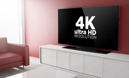 Television smart 4k. 4k on smart tv on a living room. 3d Rendering Royalty Free Stock Images