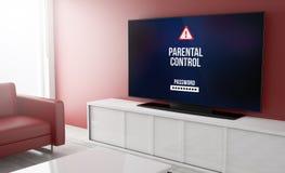 Television smart parental control. Parental control on tv on a living room. 3d Rendering Stock Image