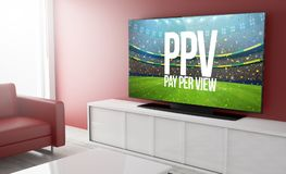 Television smart pay per view. Pay per view on smart tv on a living room. 3d Rendering Royalty Free Stock Photos