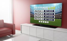 Television smart sports live betting. Sports live betting on tv on a living room. 3d Rendering Royalty Free Stock Photo