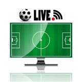 Television soccer concept live broadcast on white background Stock Images