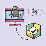 Television with spider and shield icons. Vector illustration royalty free illustration