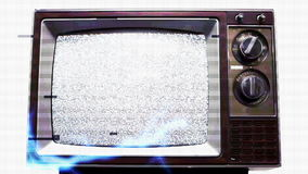 Television Static Electrical Shock Overload. Retro tv with static on screen and digital distortion, electrical lightning zapping around stock video