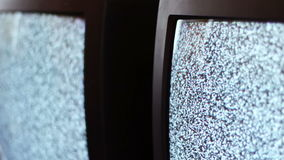 Television static noise black white. Noise on the TV is reflected in the mirror stock footage