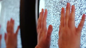 Television static noise black white. Noise on the TV is reflected in the mirror woman`s hand slowly touches to noise on TV like horror movies stock footage