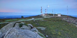 Television station with towers and antennas. Royalty Free Stock Photography