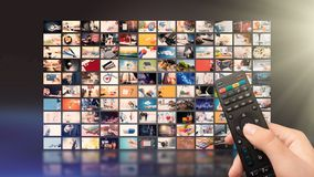 Television streaming video. Media TV on demand. Television streaming video concept. Media TV video on demand technology. Video service with internet streaming stock image