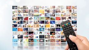 Television streaming video. Media TV on demand. Television streaming video concept. Media TV video on demand technology. Video service with internet streaming royalty free stock image