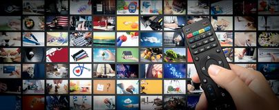 Television streaming video. Media TV on demand. Television streaming video concept. Media TV video on demand technology. Video service with internet streaming royalty free stock images