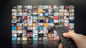 Television streaming video. Media TV on demand. Television streaming video concept. Media TV video on demand technology. Video service with internet streaming stock photo