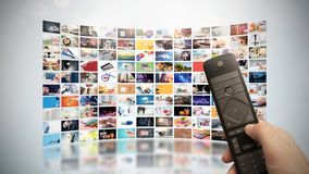 Television streaming video. Media TV on demand. Television streaming video concept. Media TV video on demand technology. Video service with internet streaming royalty free stock photos