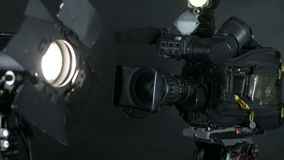 Television Studio Camera. Broadcasting professional camcoder. stock video footage
