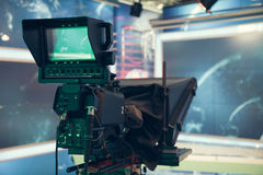 Television studio with camera and lights - recording TV NEWS Royalty Free Stock Photography