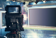 Television studio with camera and lights - recording TV NEWS Stock Photo