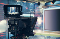 Television studio with camera and lights - recording TV NEWS Stock Photography