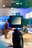 Television studio with camera and lights - recording TV show Royalty Free Stock Photo