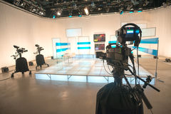 Television studio with camera and lights. TV show royalty free stock photos