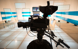 Television studio with camera and lights Royalty Free Stock Photography
