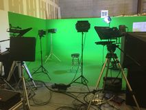 Television Studio. Green screen at a television studio in Orlando Florida stock photo