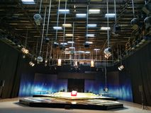 Television studio - the grid of lights stock photography