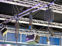 Television studio light equipment, spotlight truss, cables,  mic Royalty Free Stock Image