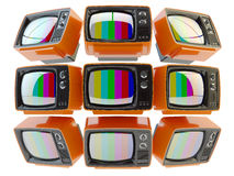 Television, telecommunication, mass media broadcasting and surveillance concept. Video wall from retro tv set receivers with no signal on screens on white Royalty Free Stock Photography