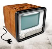 Television. Retro revival old the media red information medium three-dimensional shape vector illustration