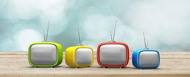 Television. Retro revival video old cartoon old-fashioned three-dimensional shape Stock Photos