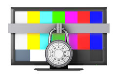 Television with Test Pattern and Padlock Royalty Free Stock Photography