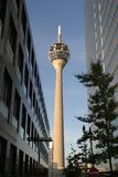 Television tower. Of Dusseldorf Germany in bright sunlight royalty free stock images