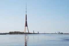 Television tower. Against a panorama of Riga Stock Photography